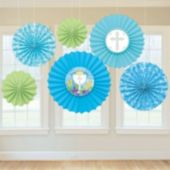 Blue First Communion Fan Decorations-6 Pack