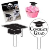 Black Graduation Cap Cupcake Toppers-24 Pack