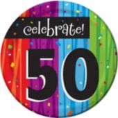 "Rainbow Celebration 50th Birthday 7"" Plate - 8 Pack"