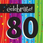 Rainbow Celebration 80th Birthday Lunch Napkin - 16 Pack