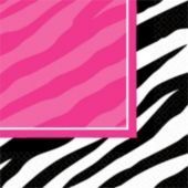 Zebra Pink Party Beverage Napkins - 16 Pack