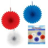 Patriotic Mini Fan Decorations-5 Per Unit