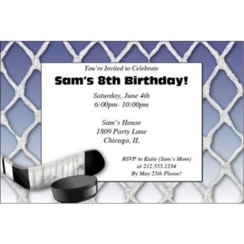 Pro Hockey Personalized Invitations