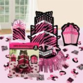 Pink Zebra Print Birthday Table Kit