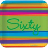 "60 Birthday Stripes 7"" Plates - 8 Pack"