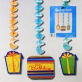 Birthday Stripes Dangler Decorations-3 Pack