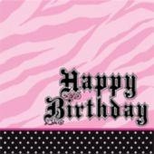 Zebra Pink Birthday Lunch Napkins - 16 Pack