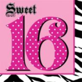 Sweet 16 Zebra Pink Lunch Napkins - 16 Pack