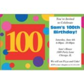 100th  Birthday Dots Personalized Invitations