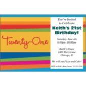 21st Birthday Stripes Invitations