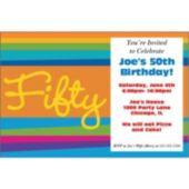 50th Birthday Stripes Personalized Invitations