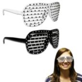 Black & White Sparkle Slotted Glasses - 12 Pack