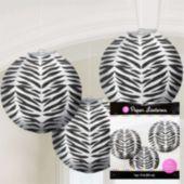 Zebra Print Round Lanterns-3 Pack
