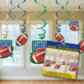 Football Swirl Decorations-12 Pack
