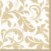 Gold Elegant Lunch Napkins - 16 Pack
