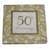 Gold Elegant 50th Lunch Napkins - 16 Pack
