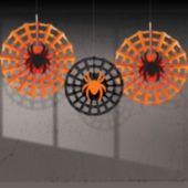 Spider Web Hanging Fan Decorations-3 Pack