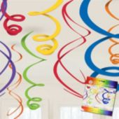Primary Color Swirl Decorations-12 Pack