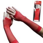 Red Fishnet Fingerless Gloves - 1 Pair