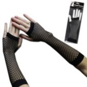 Black Fishnet Fingerless Gloves - 1 Pair