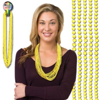 Yellow Bead Necklaces - 33 Inch, 12 Pack