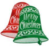 Christmas Bell Glitter Cutouts-2 Per Unit