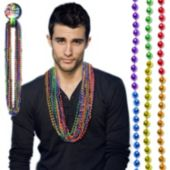 "Rainbow 7mm Bead Necklaces-33""-12 Pack"