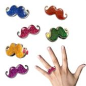 Glitter Mustache Rings-12 Pack