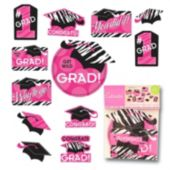 Pink Zebra Grad Cutouts-12 Pack