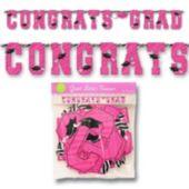 Pink Zebra Grad Letter Banner