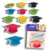 Glitter Grad Cap Cutouts-10 Pack