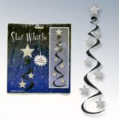 Black & Silver Star Whirl Decorations-3 Per Unit