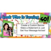 Look Who Is 40 Photo Custom Banner