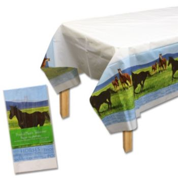 Horses Plastic  Table Cover