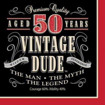 Vintage Dude  50 Lunch Napkins