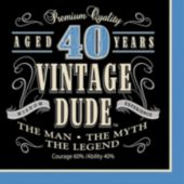 Vintage Dude Lunch 40 Napkins - 16 Pack
