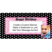 Pink Birthday Dots Custom Photo Banner