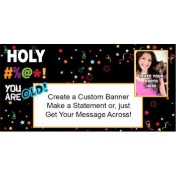 Holy Bleep Birthday Custom Photo Banner