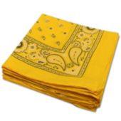 """Yellow 22"""" Cotton Bandana - 12 Pack"""