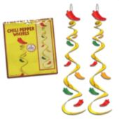 Chili Pepper Whirl Decorations-3 Per Unit