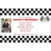 Raceway Check Photo Personalized Invitations