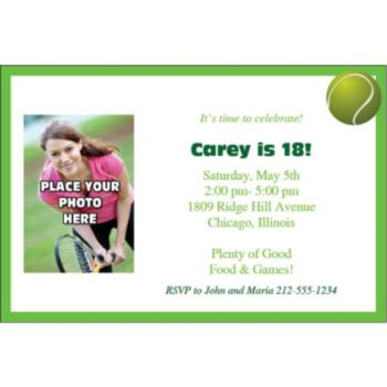 Tennis Photo Personalized Invitations
