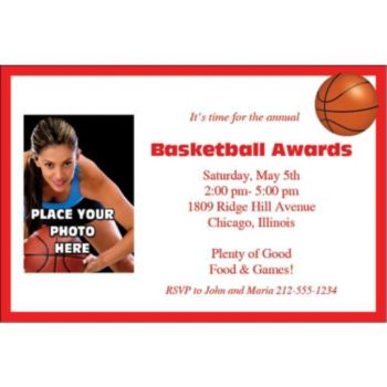 Baketball Photo Personalized Invitations