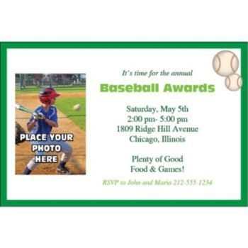 Baseball Photo Personalized Invitations