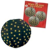 Black & Gold Star Lanterns-3 Pack