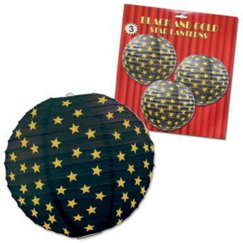 Black & Gold Star  Paper Lanterns