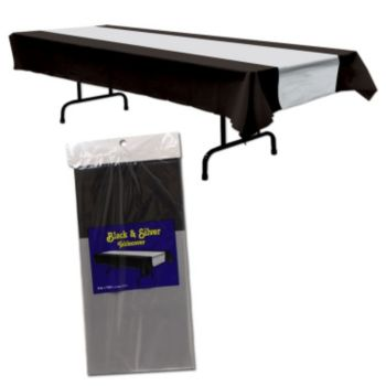 Black & Silver  Plastic Table Cover