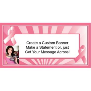 Pink Ribbon Custom Photo Banner