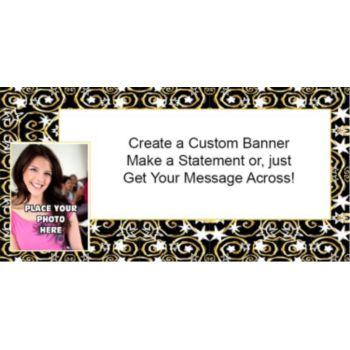 Gold Stars and Swirls Custom Photo Banner