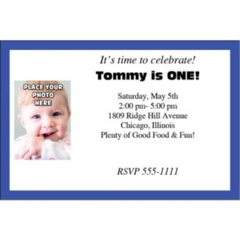 Blue Border Photo Logo Personalized Invitations